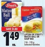 Lipton Or Streit's Matzo Ball Or Soup Mix 116 - 170 g