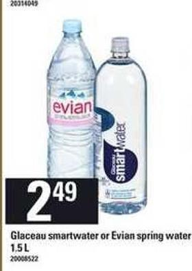 Glaceau Smartwater Or Evian Spring Water - 1.5 L
