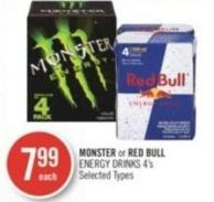 Monster or Red Bull Energy Drinks 4's