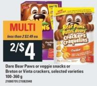 Dare Bear Paws Or Veggie Snacks Or Breton Or Vinta Crackers 100-360 G