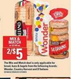 Wonder - Country Harvest And D'italiano Bread - Buns & Bagels