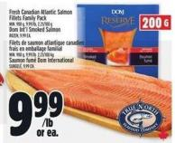 Fresh Canadian Atlantic Salmon Fillets Family Pack Min. 900 G 9.99/lb - 2.21/100 G Dom Int'l Smoked Salmon Frozen