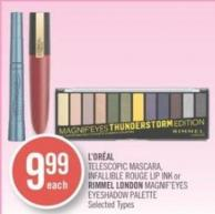 L'oréal Telescopic Mascara - Infallible Rouge Lip Ink or Rimmel London Magnif'eyes Eyeshadow Palette