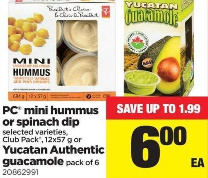 PC Mini Hummus Or Spinach Dip - 12x57 G Or Yucatan Authentic Guacamole - Pack Of 6