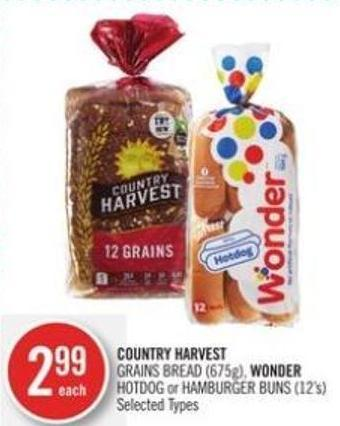 Country Harvest  Grains Bread (675g) - Wonder Hotdog or Hamburger Buns (12's)