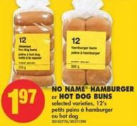 No Name Hamburger or Hot Dog Buns - 12's