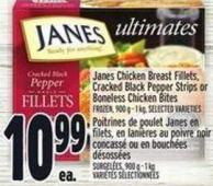 Janes Chicken Breast Fillets - Cracked Black Pepper Strips Or Boneless Chicken Bites Frozen - 900 g - 1 Kg