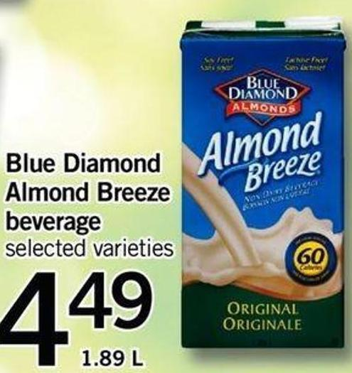 Blue Diamond Almond Breeze Beverage - 1.89 L
