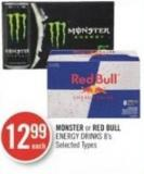 Monster or Red Bull Energy Drinks 8's