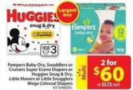 Huggies Snug & Dry - Little Movers or Little Snugglers Mega Colossal Diapers