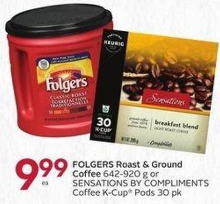 Folgers Roast & Ground Coffee 642-920 g or Sensations By Compliments Coffee K-cup Pods 30 Pk