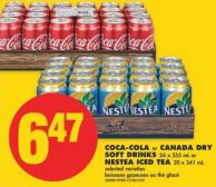 Coca-cola or Canada Dry Soft Drinks 24 X 355 mL or Nestea Iced Tea 20 X 341 mL