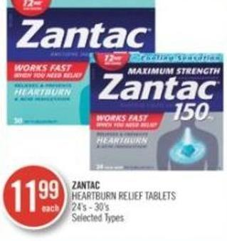 Zantac Heartburn Relief Tablets 24's - 30ins