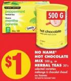 No Name Hot Chocolate Mix 500 g - or Herbal Teas 20's