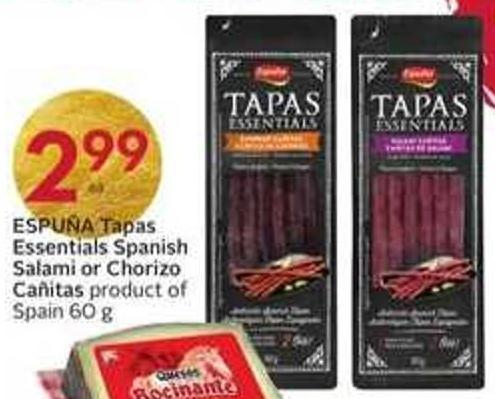 Espuña Tapas Essentials Spanish Salami or Chorizo Cañitas Product of Spain 60 g