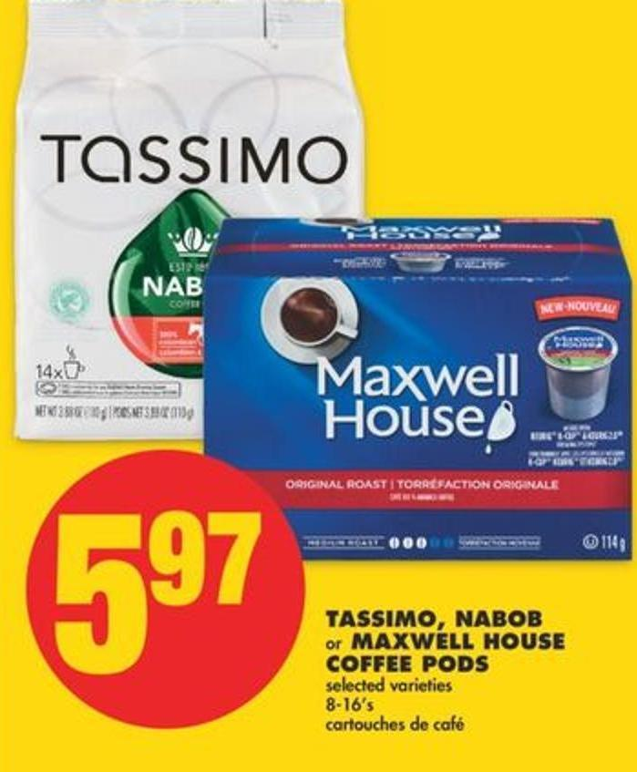 Tassimo - Nabob Or Maxwell House Coffee PODS - 8-16's