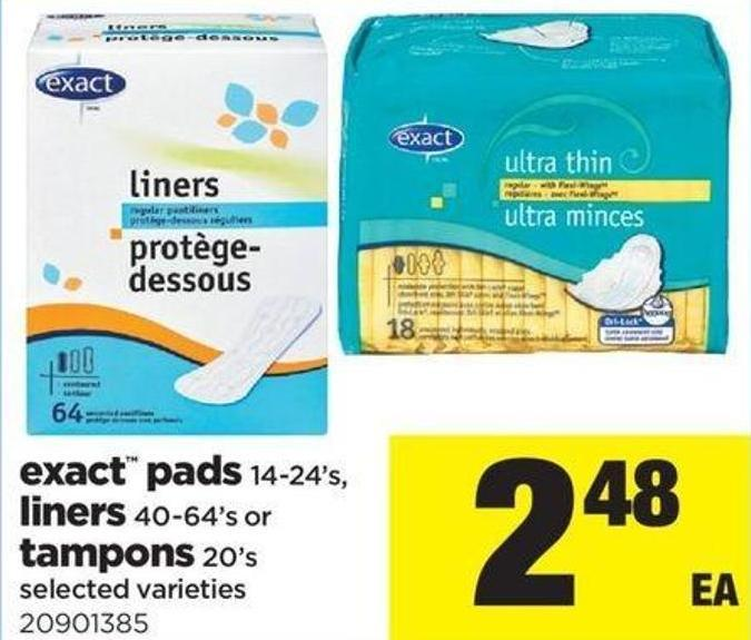 Exact Pads 14-24's - Liners - 40-64's Or Tampons 20's
