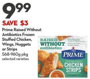 Prime Raised Without  Antibiotics Frozen  Stuffed Chicken -  Wings - Nuggets  or Strips 568-960g Pkg