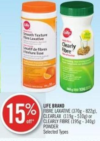 Life Brand Fibre Laxative (370g - 822g) - Clearlax (119g - 510g) or Clearly Fibre (195g - 340g) Powder