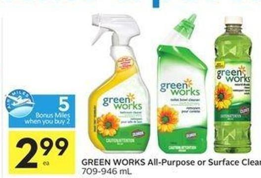 Green Works All-purpose or Surface Cleaners - 5 Air Miles Bonus Miles