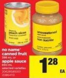 No Name Canned Fruit - 398 Ml Or Apple Sauce - 650 Ml