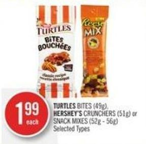 Turtles Bites (49g) - Hershey's Crunchers (51g) or Snack Mixes (52g - 56g)