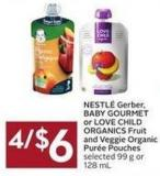 Nestlé Gerber - Baby Gourmet or Love Child Organics Fruit and Veggie Organic Purée Pouches