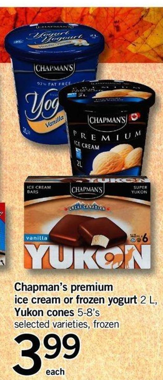 Chapman's Premium Ice Cream Or Frozen Yogurt - 2 L Yukon Cones - 5-8's