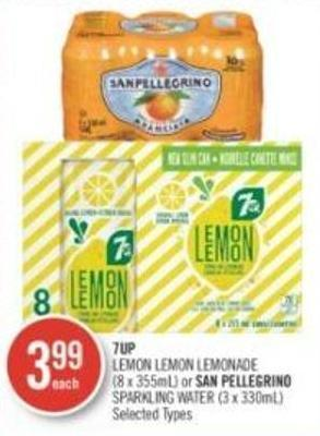 Lemon Lemon Lemonade (8 X 355ml) or San Pellegrino Sparkling Water (3 X 330ml)