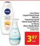 Live Clean Liquid Hand Soap 500 mL - Foaming Liquid Hand Soap 400 mL or Nivea Men's Body Wash