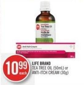 Life Brand  Tea Tree Oil (50ml) or Anti-itch Cream (30g)