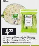 PC Organics Cauliflower - PC Organics Romaine Hearts 3's Or PC Organics Portobello Mushrooms 4's