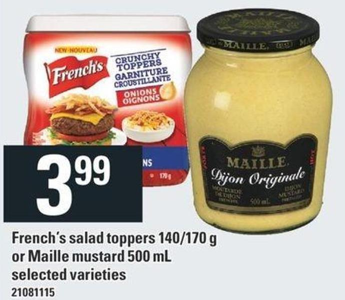 French's Salad Toppers 140/170 G Or Maille Mustard 500 Ml