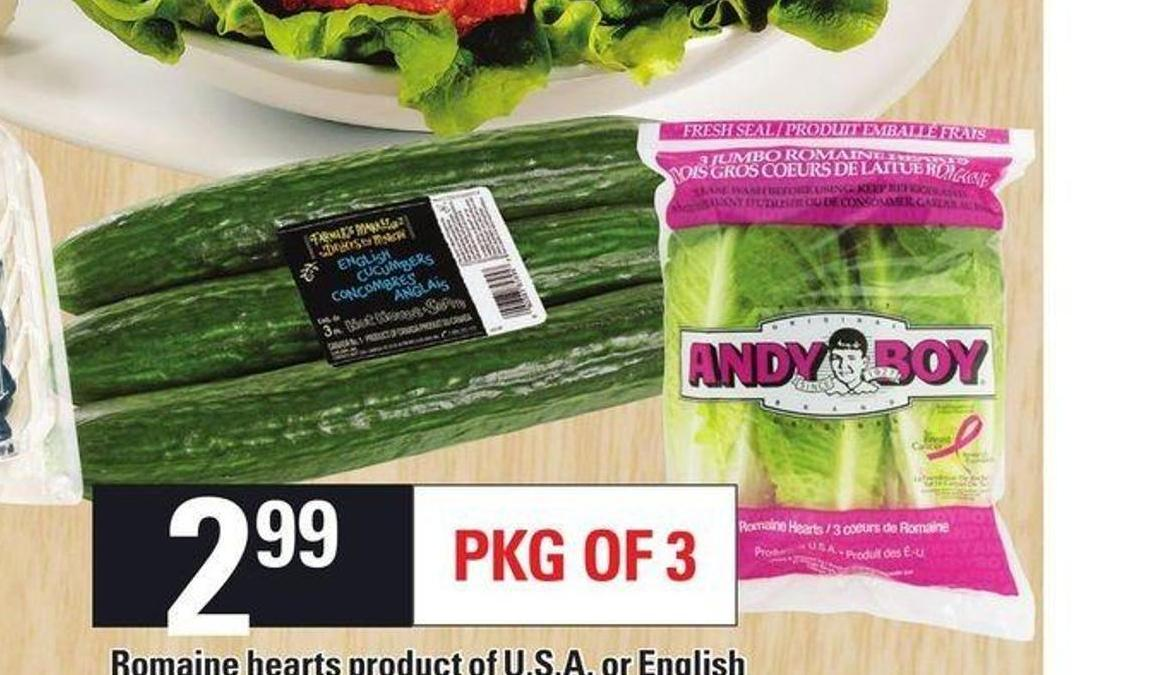 Romaine Hearts Or English Cucumbers - Pkg of 3
