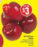 Red Delicious Apples Product of USA Extra Fancy Grade 3.31/kg