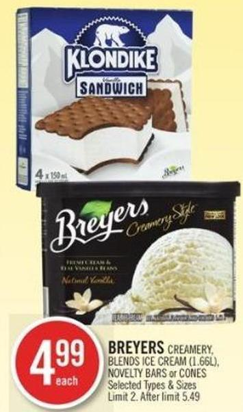 Breyers Creamery - Blends Ice Cream - Novelty Bars or Cones