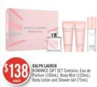Ralph Lauren Romance Gift Set Contains: Eau de Parfum (100ml) - Body Mist (150ml) - Body Lotion and Shower Gel (75ml)