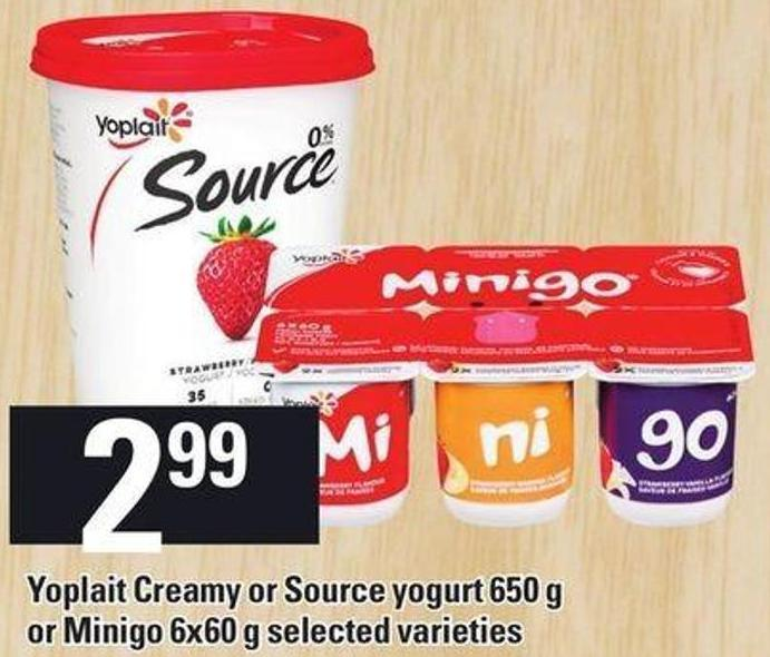 Yoplait Creamy Or Source Yogurt 650 G Or Minigo 6x60 G