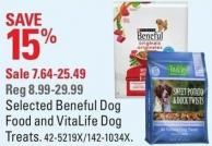 Selected Beneful Dog Food and Vitalife Dog Treats