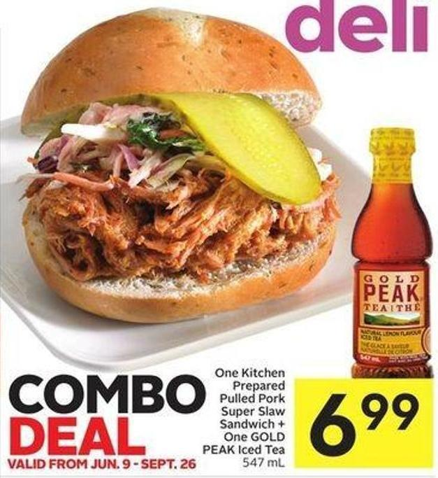 One Kitchen Prepared Pulled Pork Super Slaw Sandwich + One Gold Peak Iced Tea 547 mL