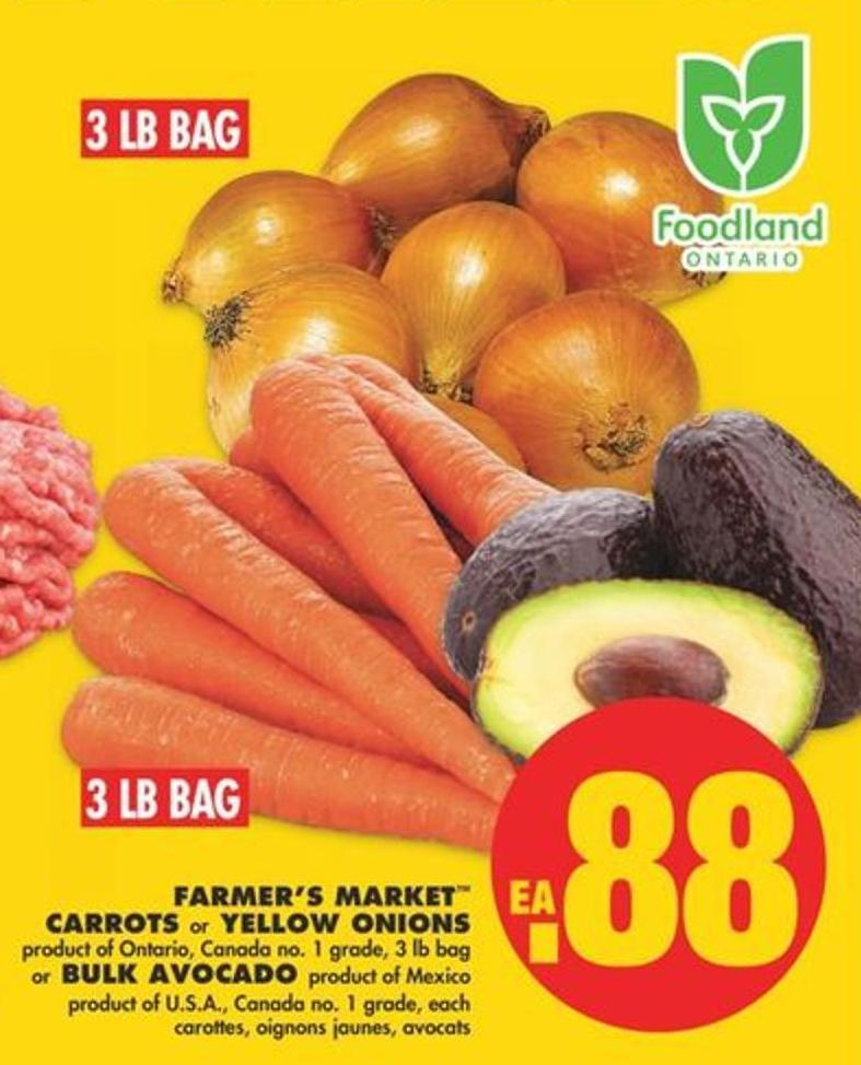 Farmer's Market Carrots Or Yellow Onions - 3 Lb Bag Or Bulk Avocado
