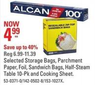 Alcan Selected Storage Bags - Parchment Paper - Foil - Sandwich Bags - Half-steam Table 10-pk and Cooking Sheet