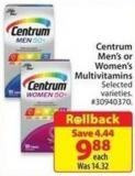 Centrum Men's or Women's Multivitamins