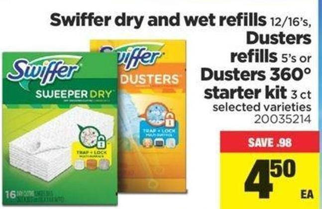 Swiffer Dry And Wet Refills - 12/16's - Dusters Refills - 5's Or Dusters 360° Starter Kit - 3 Ct