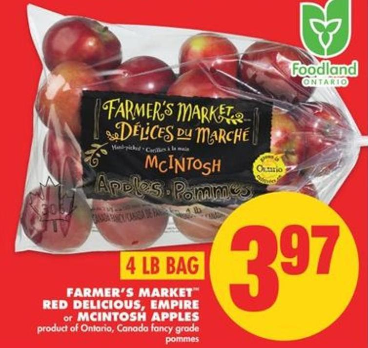 Farmer's Market Red Delicious - Empire Or Mcintosh Apples - 4 Lb Bag