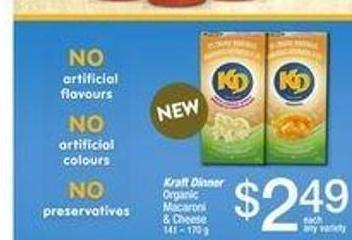 Kraft Dinner Organic Macaroni & Cheese - 141 – 170 g
