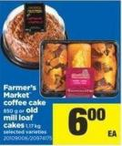 Farmer's Market Coffee Cake - 850 G Or Old Mill Loaf Cakes - 1.17 Kg