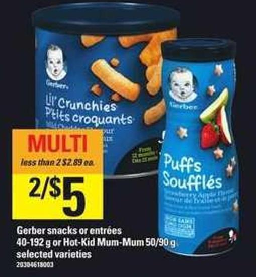 Gerber Snacks Or Entrées - 40-192 G Or Hot-kid Mum-mum - 50/90 G