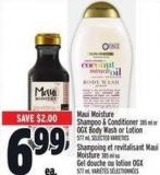 Maui Moisture Shampoo & Conditioner 385 Ml Or Ogx Body Wash Or Lotion 577 Ml
