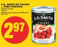 E.d. Smith Pie Filling or Pure Pumpkin - 540 mL